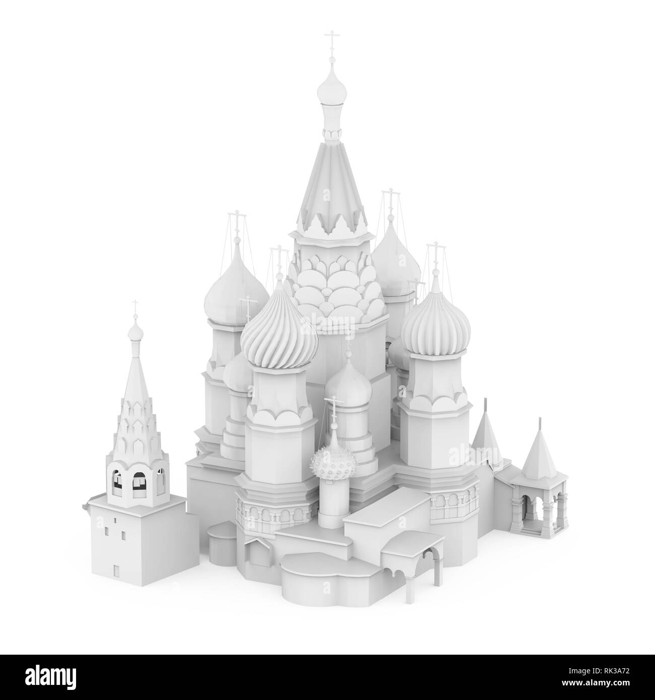 White Saint Basil's Cathedral Isolated - Stock Image