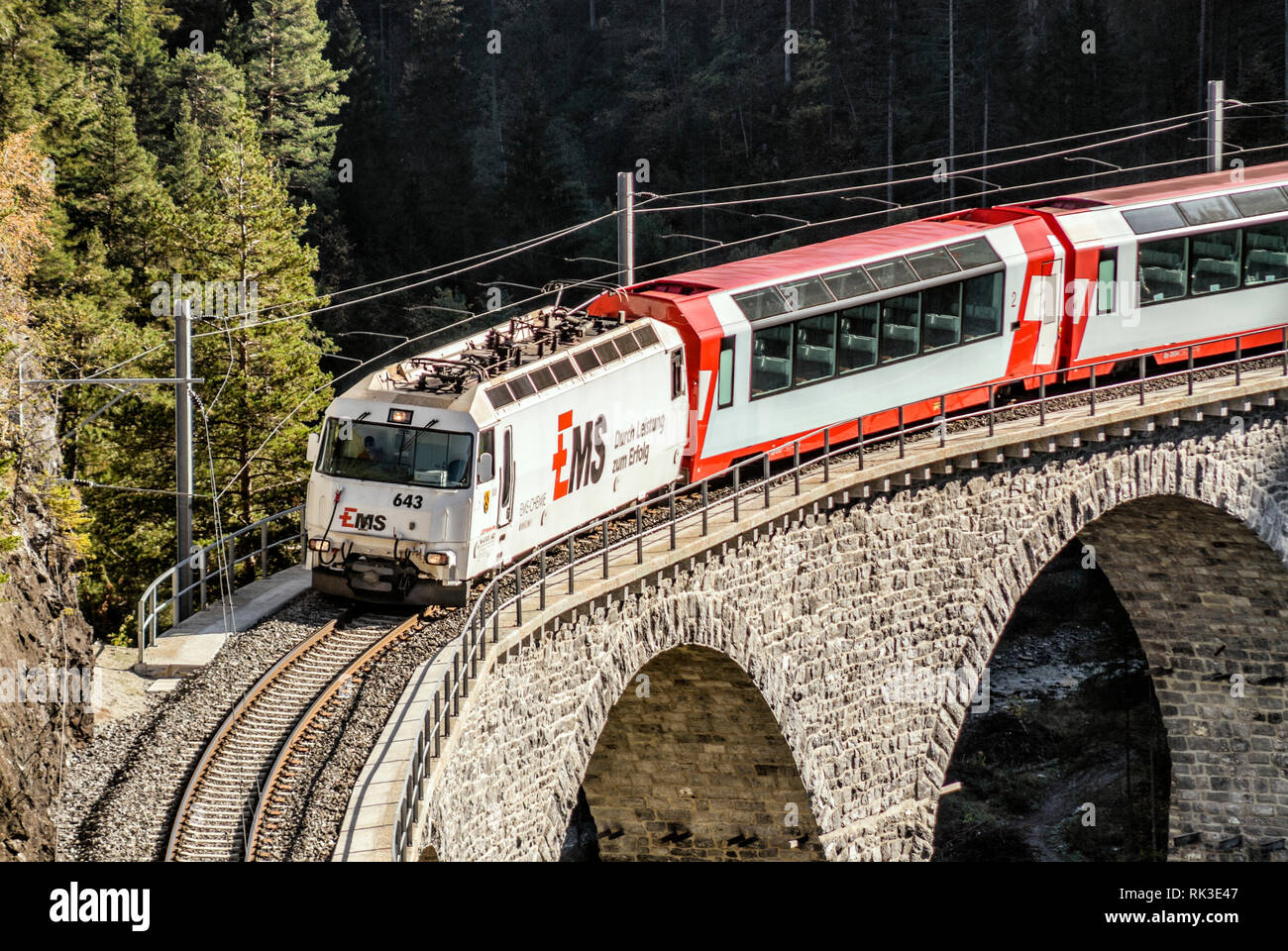 Glacier Express at the Landwasser Viaduct at Swiss Alps, Switzerland | Glacier Express auf Landwasser Viadukt, Schweiz - Stock Image