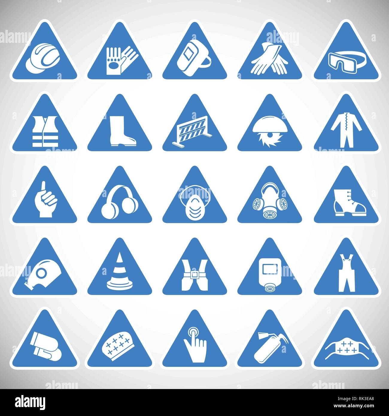 Industrial safety triangle signs set blue background Stock Vector