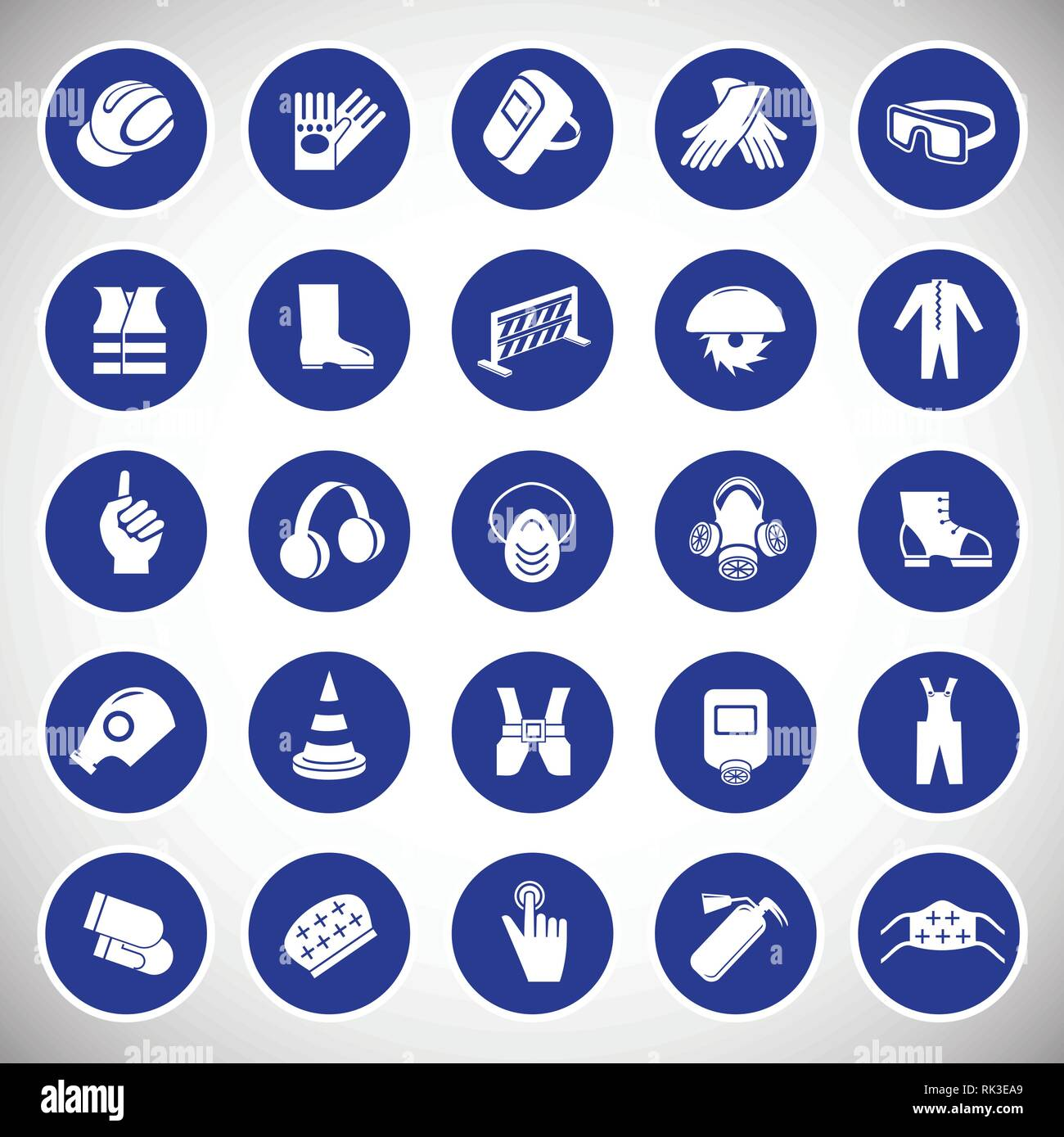 Industrial safety signs set blue background Stock Vector