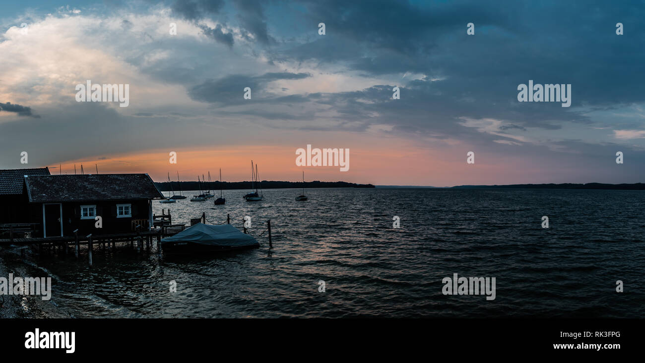 Seeshaupt, Bavaria / Germany - 08 03 2018: Small boats in the harbor of recreative lake in summer Stock Photo