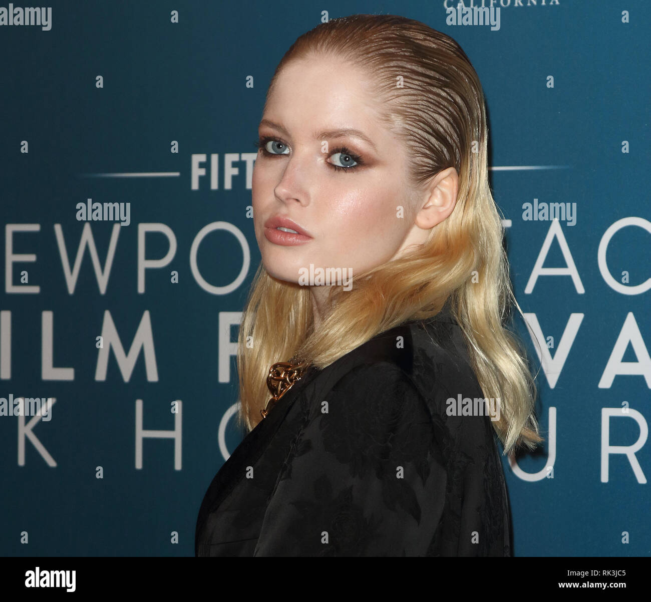 Ellie Bamber seen at the Newport Beach Film Festival 5th Annual UK Honors at London's Langham Hotel. - Stock Image