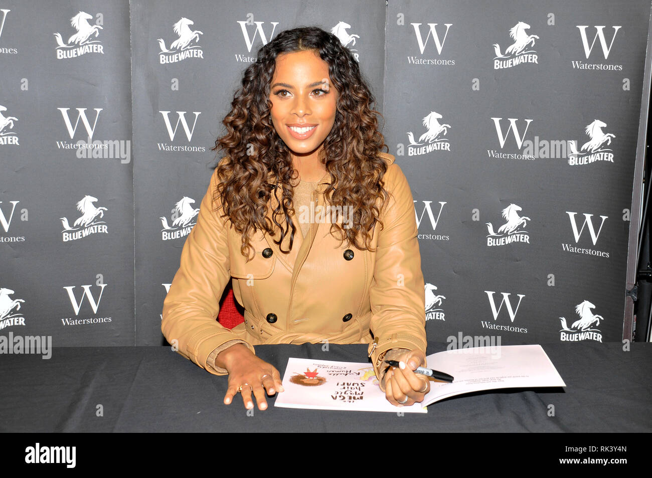 Greenhithe, Kent. United Kingdom.  9th February, 2019. Rochelle Humes at a signing of her debut children's book, 'The Mega Magic Hair Swap' at Waterstones,  Bluewater Shopping Centre, Greenhithe, Kent.   Sue Andrews/Alamy Live News. - Stock Image