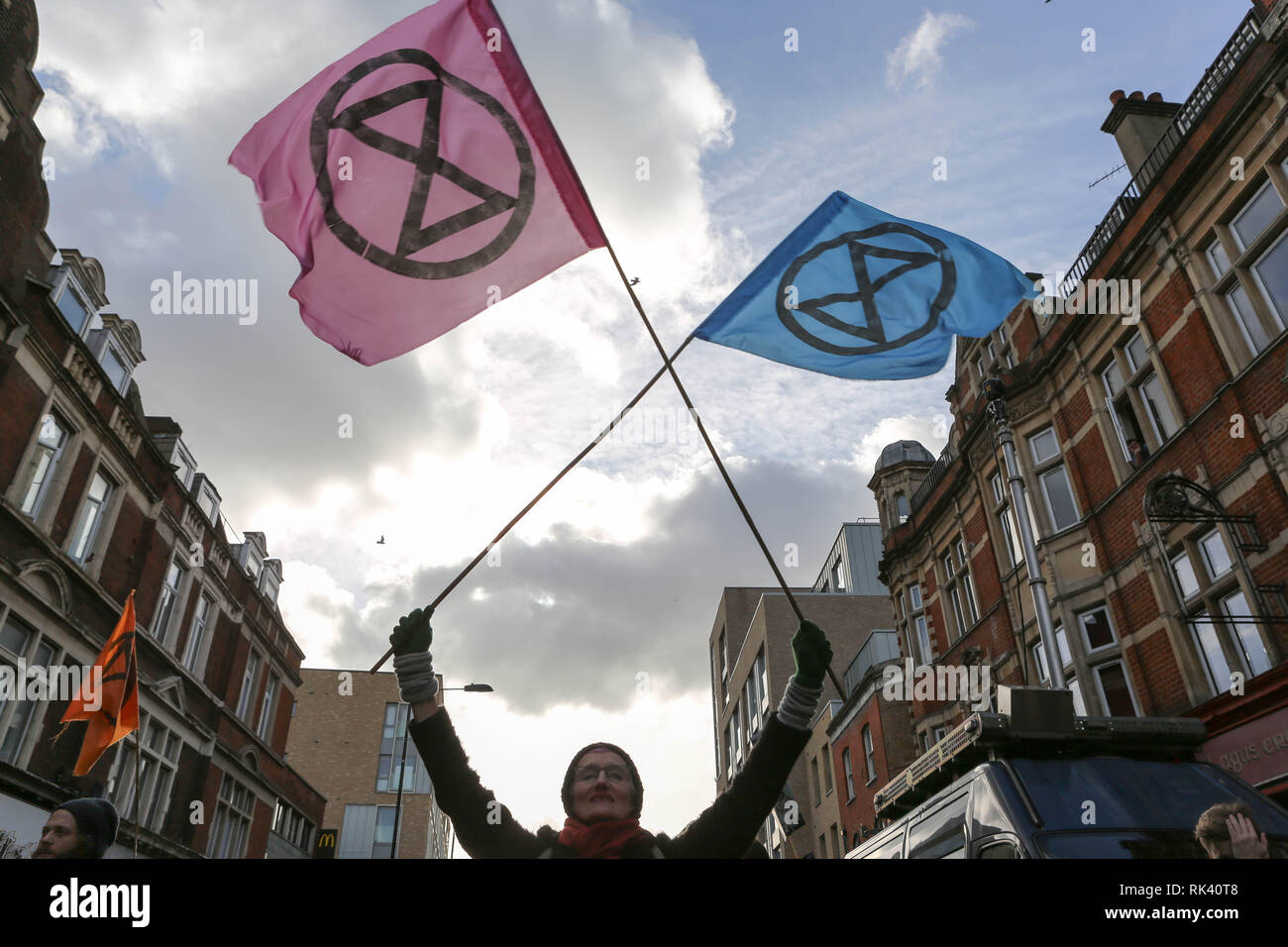 London, UK.. 9th Feb, 2019. Environmental protesters meet outside Dalston Kingsland railway station for a variety of street performances, engagement with the local community and number of short road blocks. Credit: Penelope Barritt/Alamy Live News Stock Photo