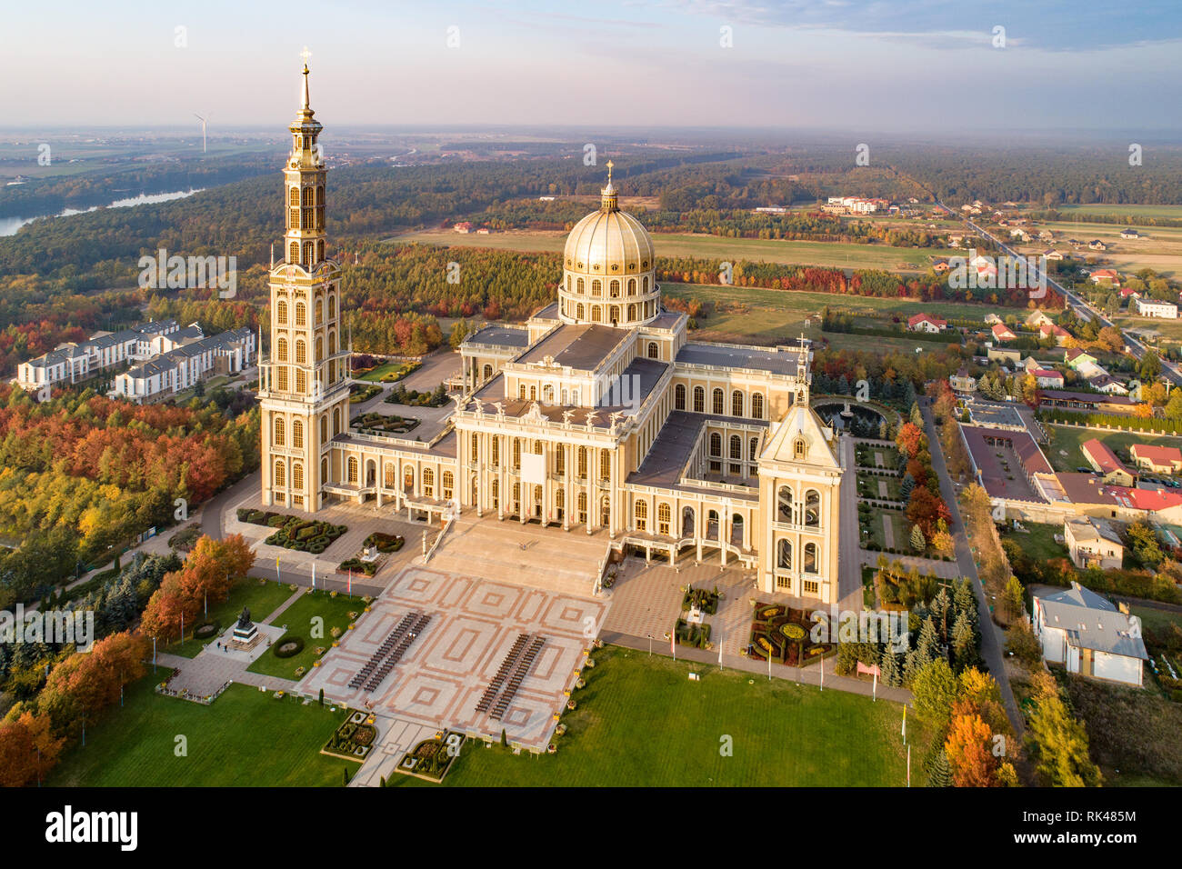Sanctuary and Basilica of Our Lady of Licheń in small village Lichen. The biggest church in Poland, one of the largest in the World. - Stock Image