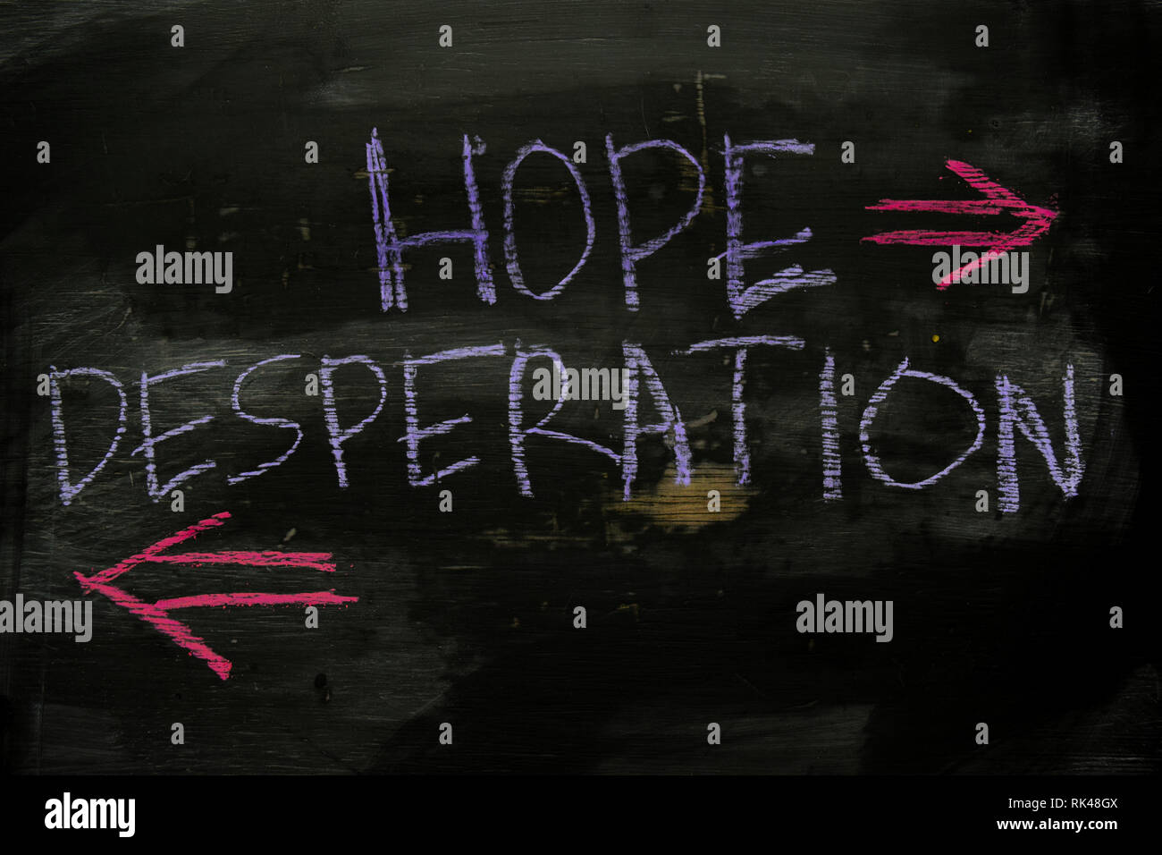 Hope or Desperation written with color chalk concept on the blackboard - Stock Image