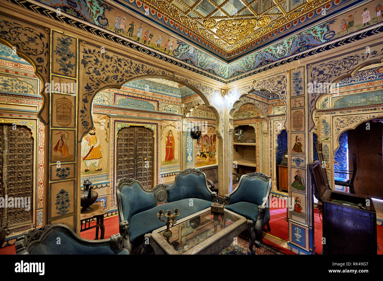 interior shot of ornated and decorated Kothari Patwa Haveli, Jaisalmer, Rajasthan, India - Stock Image