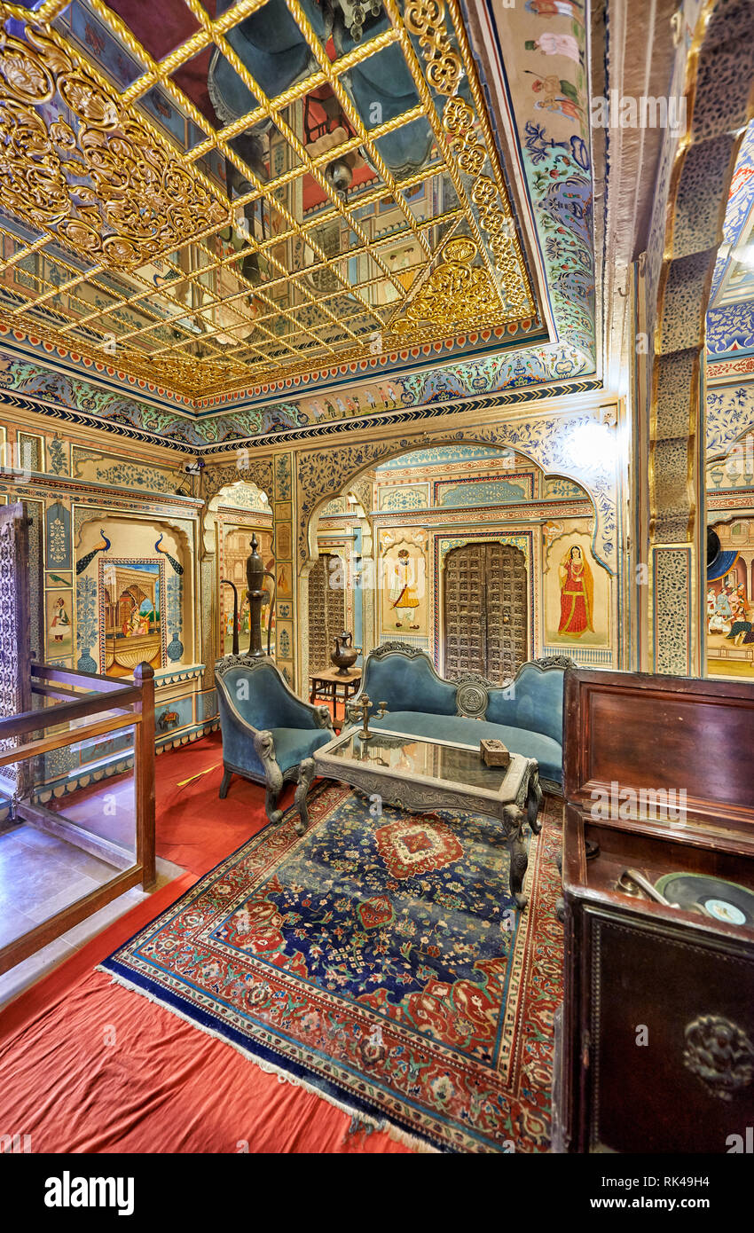 interior shot of ornated and decorated Kothari Patwa Haveli, Jaisalmer, Rajasthan, India - Stock Image
