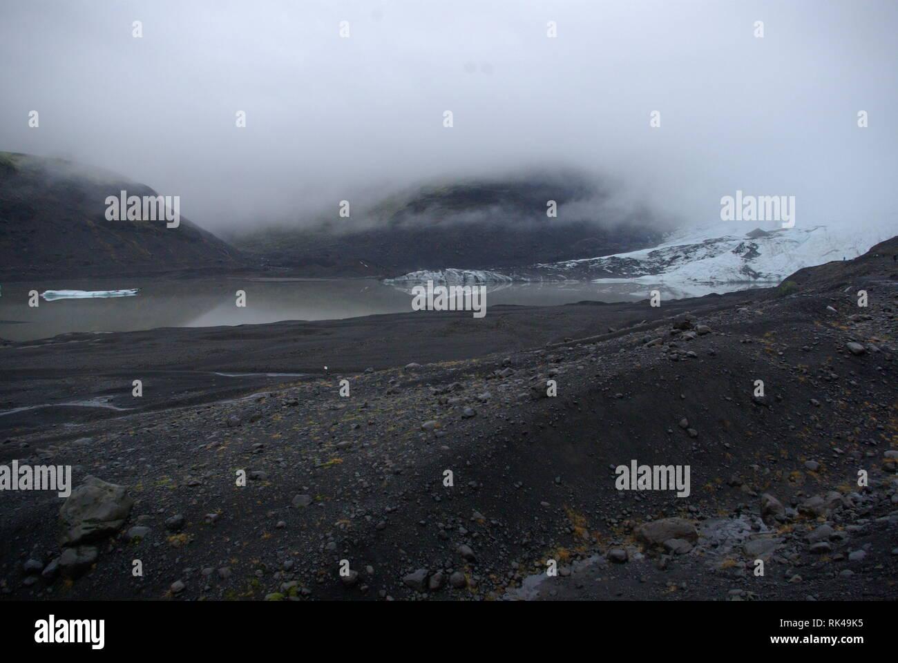Solheimajokull Gletscher in Island - Stock Image