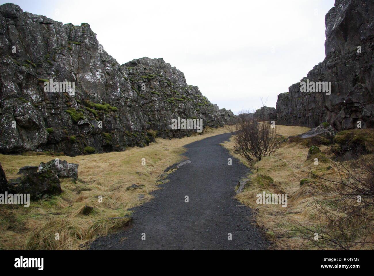 Island - Historischer Platz Thingvellir - Grabenbruchzone - Stock Image