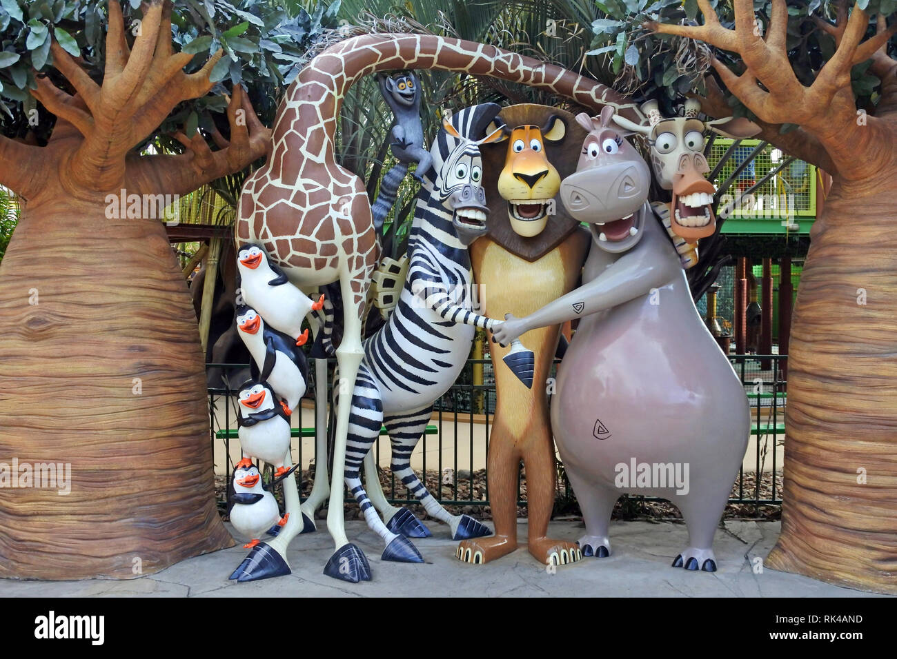 Madagascar film characters at Dreamworld, Gold Coast, Australia. The film grossed over $603 million worldwide. - Stock Image
