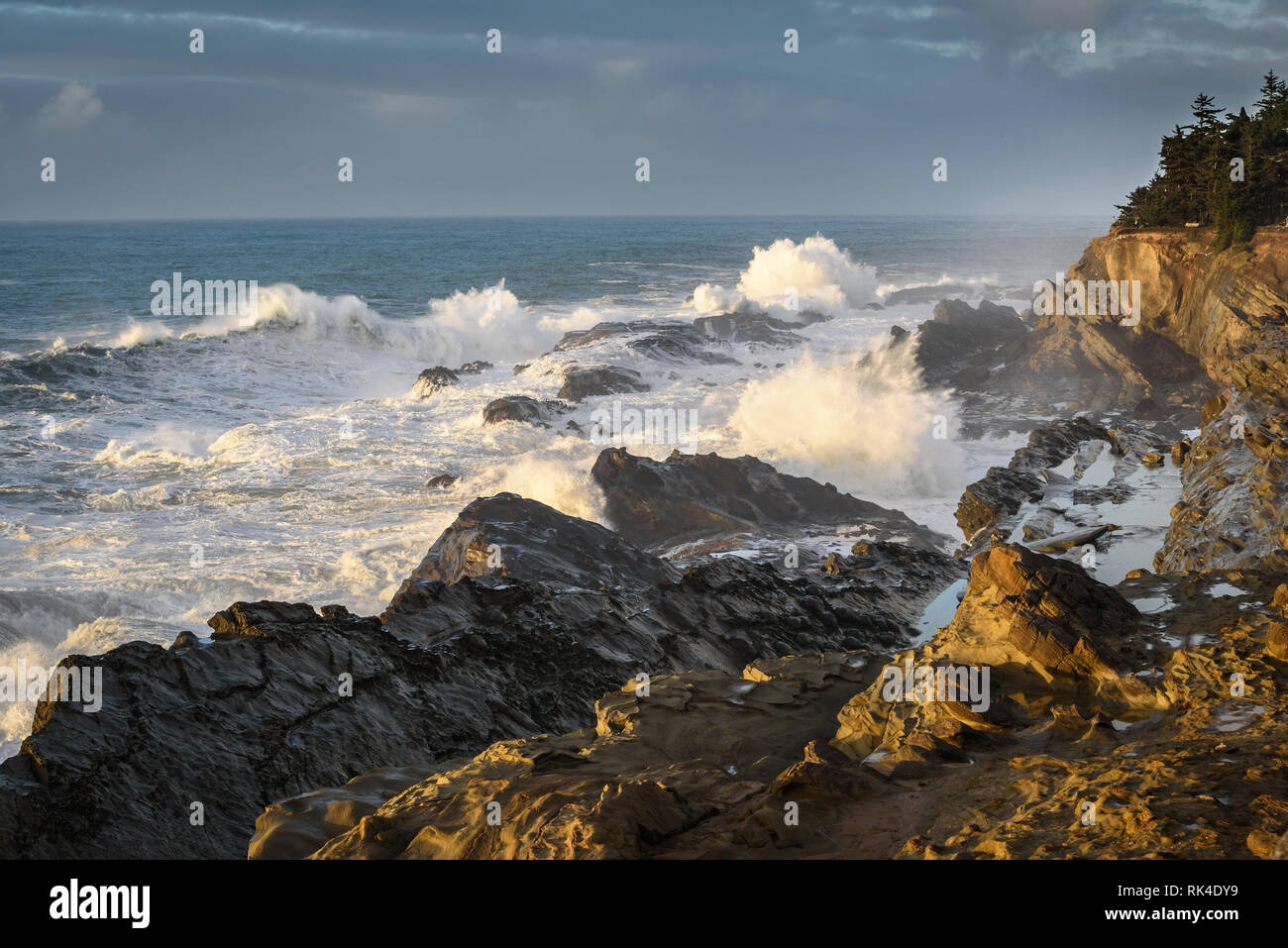 Storm surf crashing on the rocks at Shore Acres State Park on the southern Oregon coast. - Stock Image