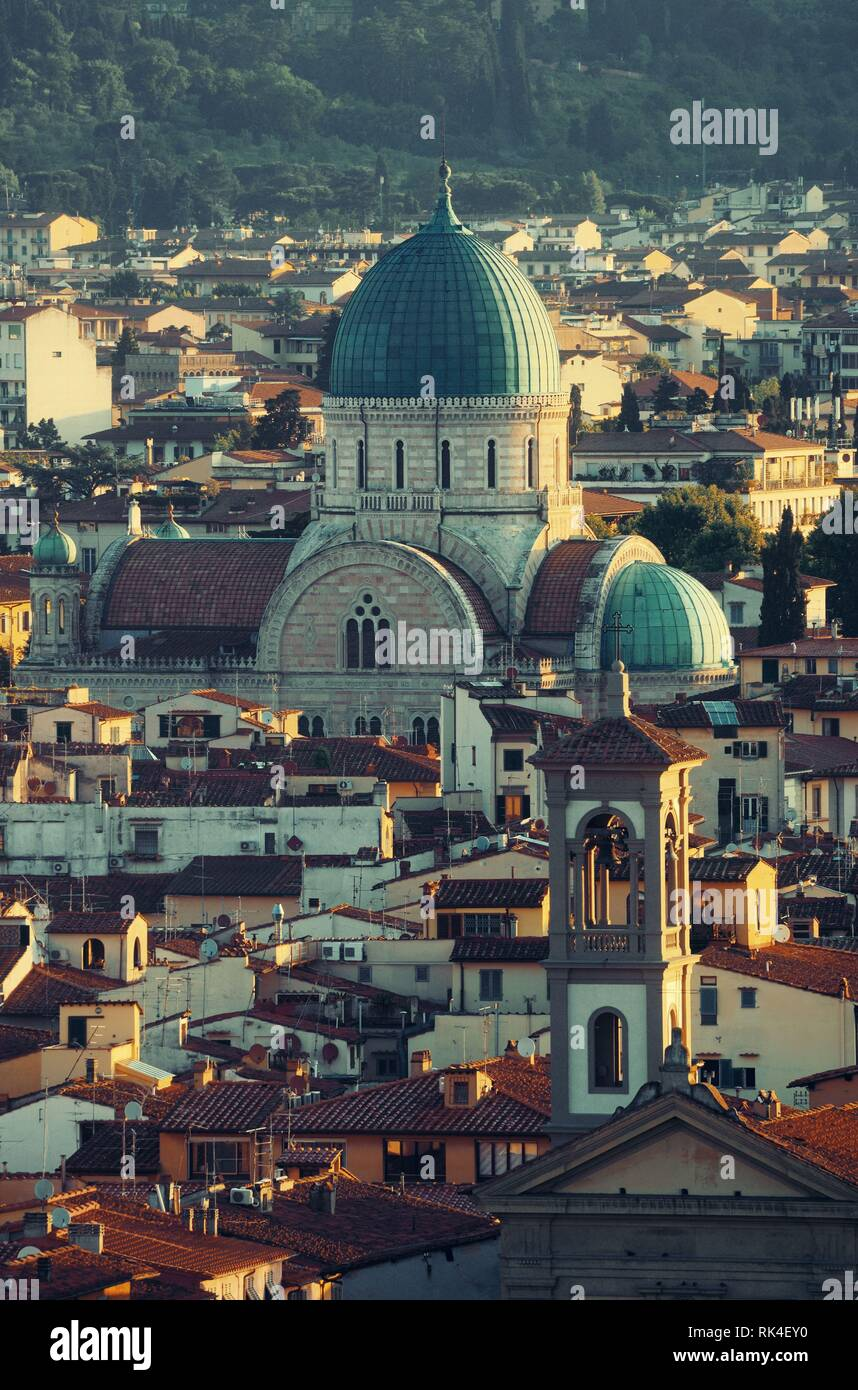 Great Synagogue of Florence or Tempio Maggiore among buildings. Italy. Stock Photo