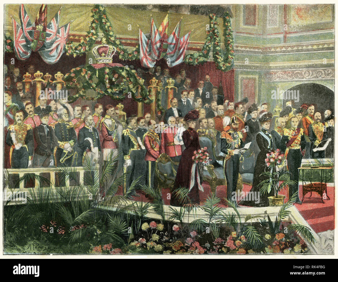 Coloured halftone of the Duke of York opening the Australian federal parliament, 1901. - Stock Image