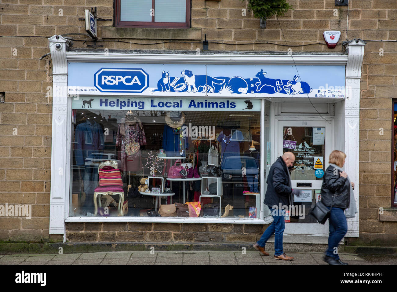 RSPCA animal charity shop in the village of Ramsbottom,Lancashire,England - Stock Image