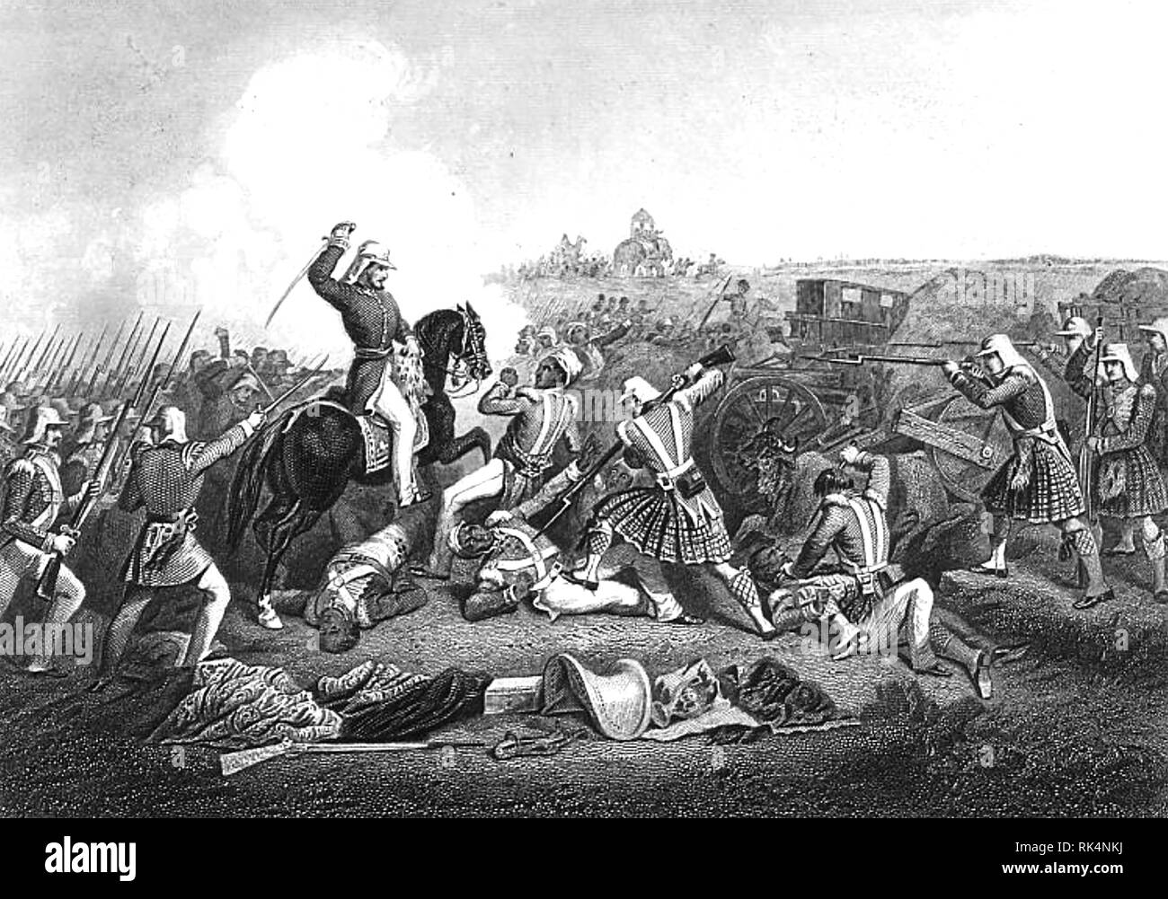 HENRY HAVELOCK (1795-1857)  British Army General. His forces attacking those of Nana Sahib at Futtyporer (Fatephur) in 1857 during the Indian Mutiny. Stock Photo