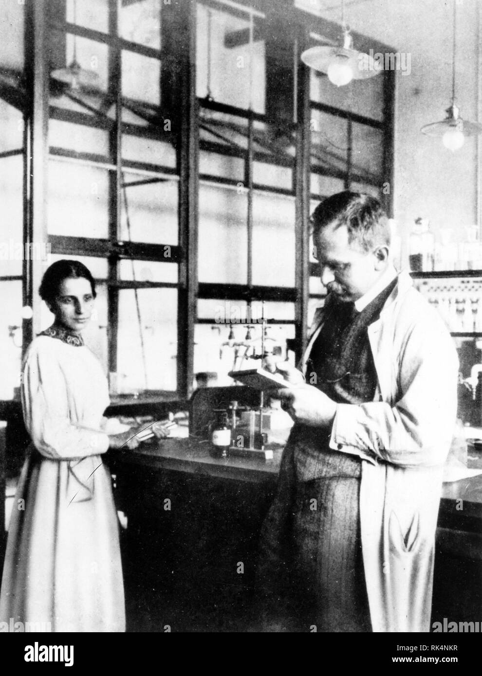 LISE MEITNER (1878-1968) Austrian-Swedish physicist with Otto Hahn about 1935 at Kaiser Wilhelm Institute for Chemistry in Berlin-Dahlem. Stock Photo