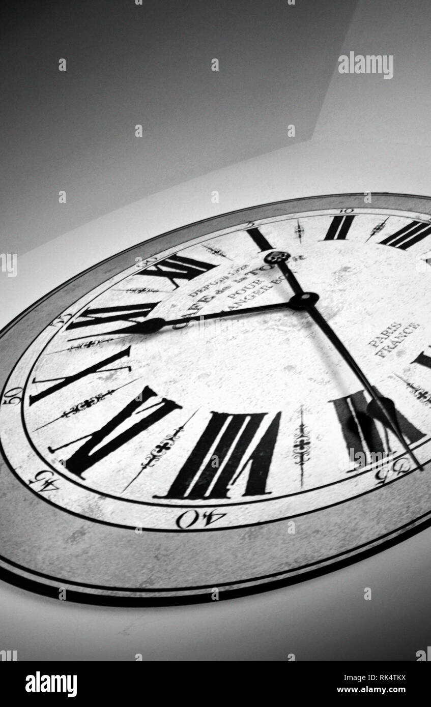 distorted monochrome clock face - Stock Image