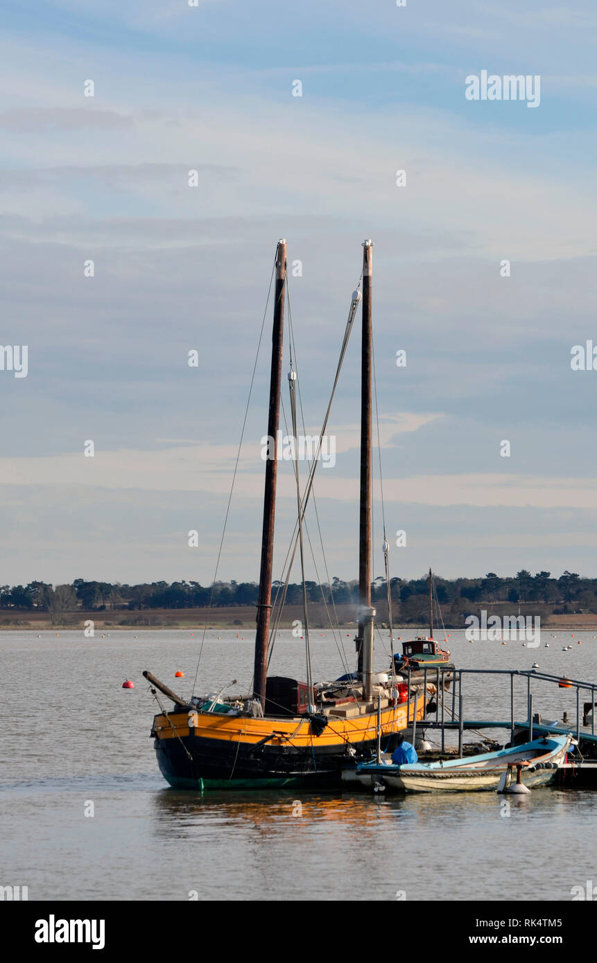 live aboard boat, moored at waldringfield river deben suffolk england uk Stock Photo