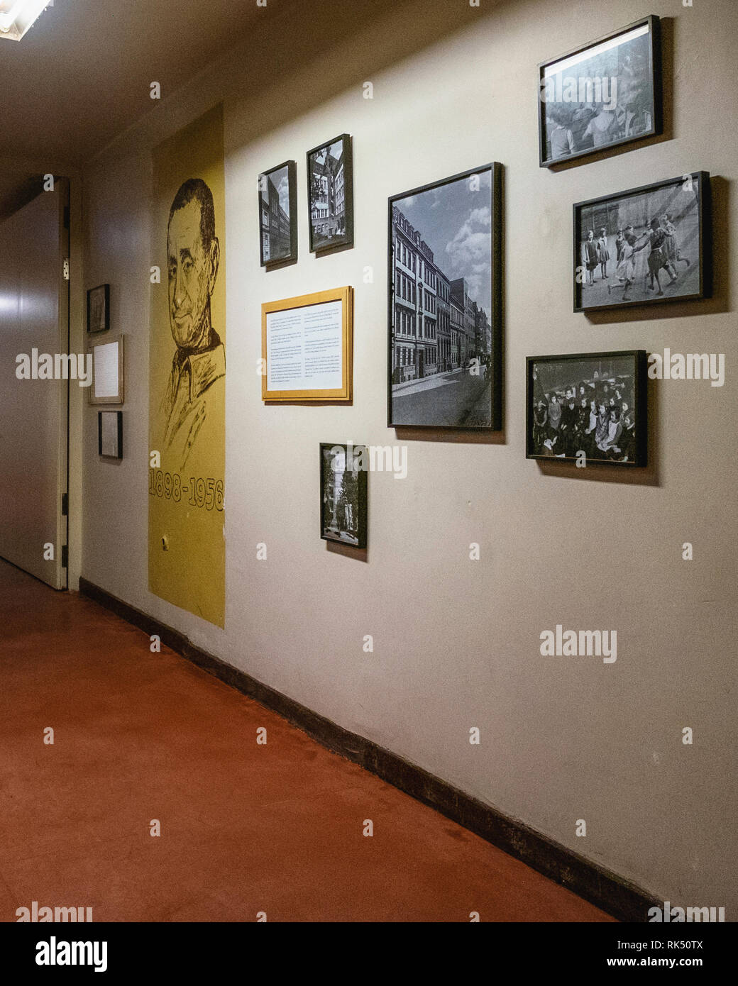 Berlin,Mitte. Passage & old photographs of former Jewish Girls' School in Auguststrasse that now houses restaurants & contemporay art galleries - Stock Image