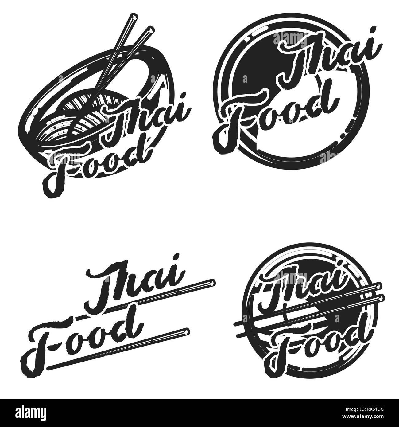 Color Vintage Thai Food Emblems Logos Badges Banners Emblems For Asian Food Restaurant Vector Illustration Stock Vector Image Art Alamy