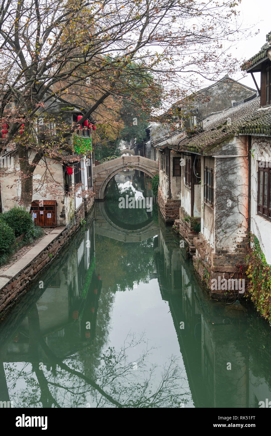 """Zhouzhuang is a town famous for its canals in Jiangsu province, China, is known as the """"Venice of China"""" Stock Photo"""