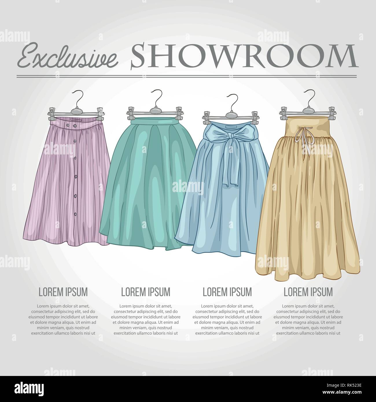 Color showroom set of woman casual clothes, midi skirts on hangers for clothes - Stock Vector