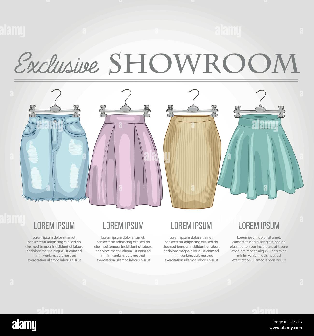 Color showroom set of woman casual skirts and overall dress - Stock Vector
