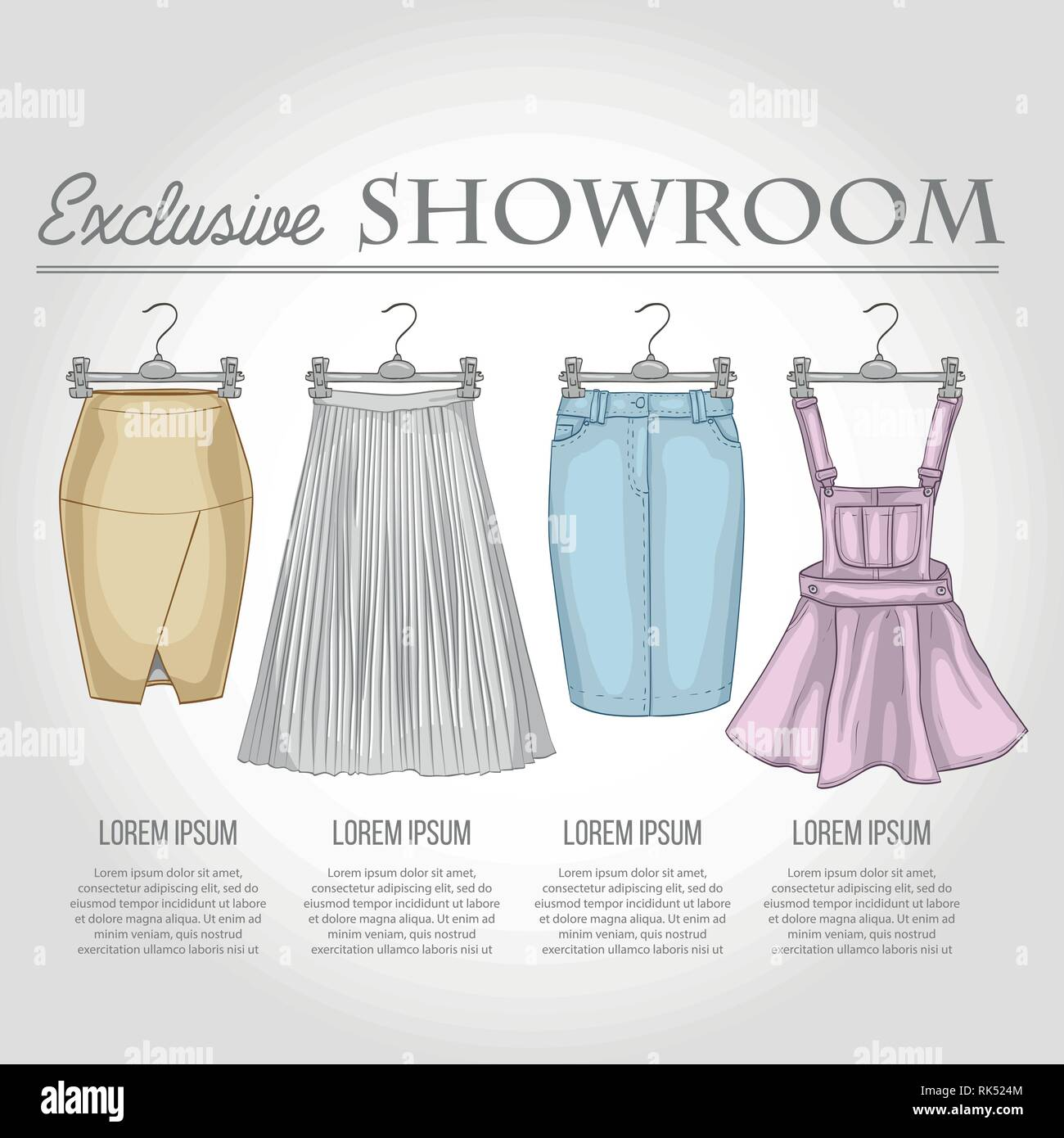 Color showroom set of woman casual skirts - Stock Vector