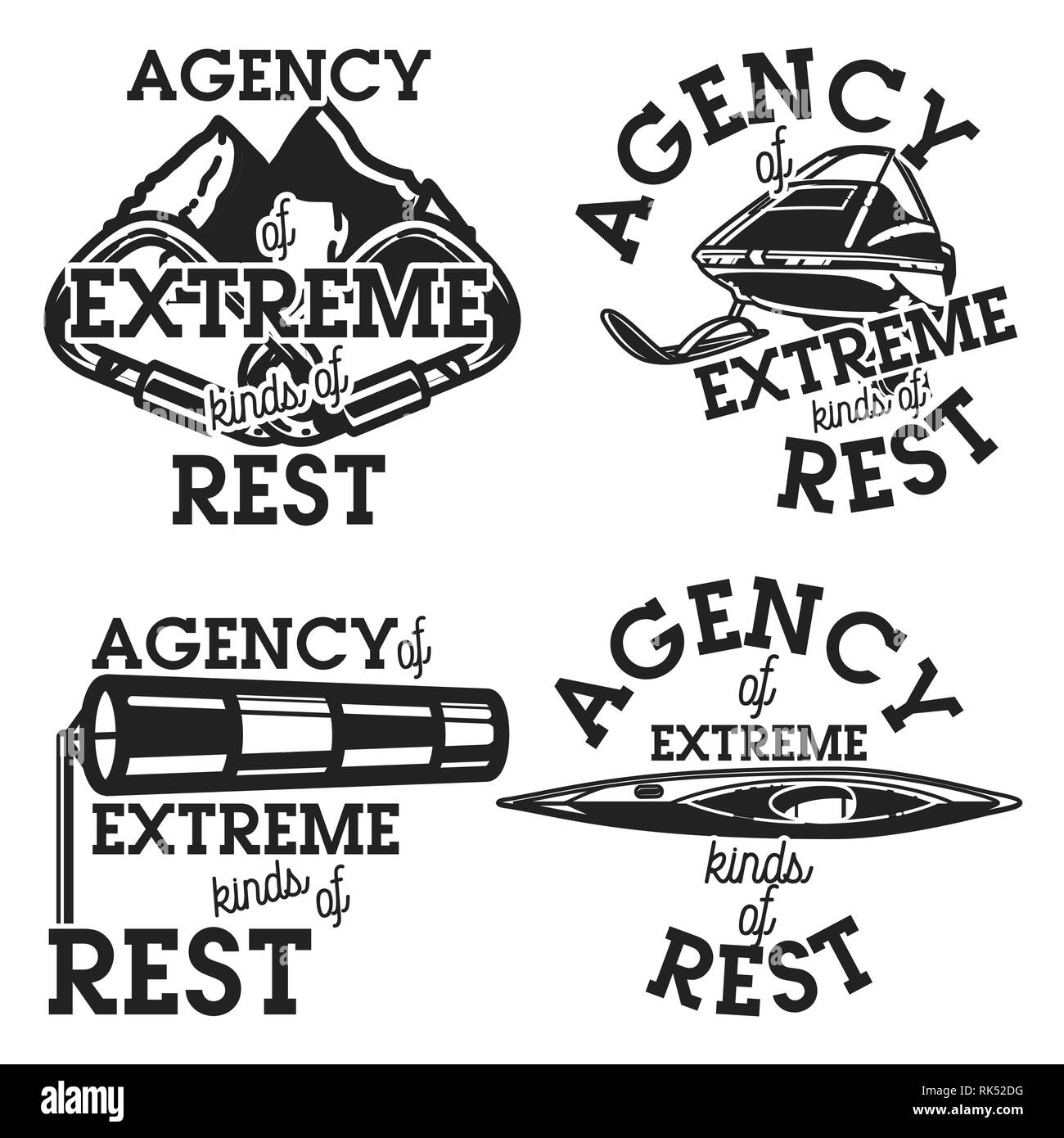 Vintage agency of extreme kinds of rest emblems, labels