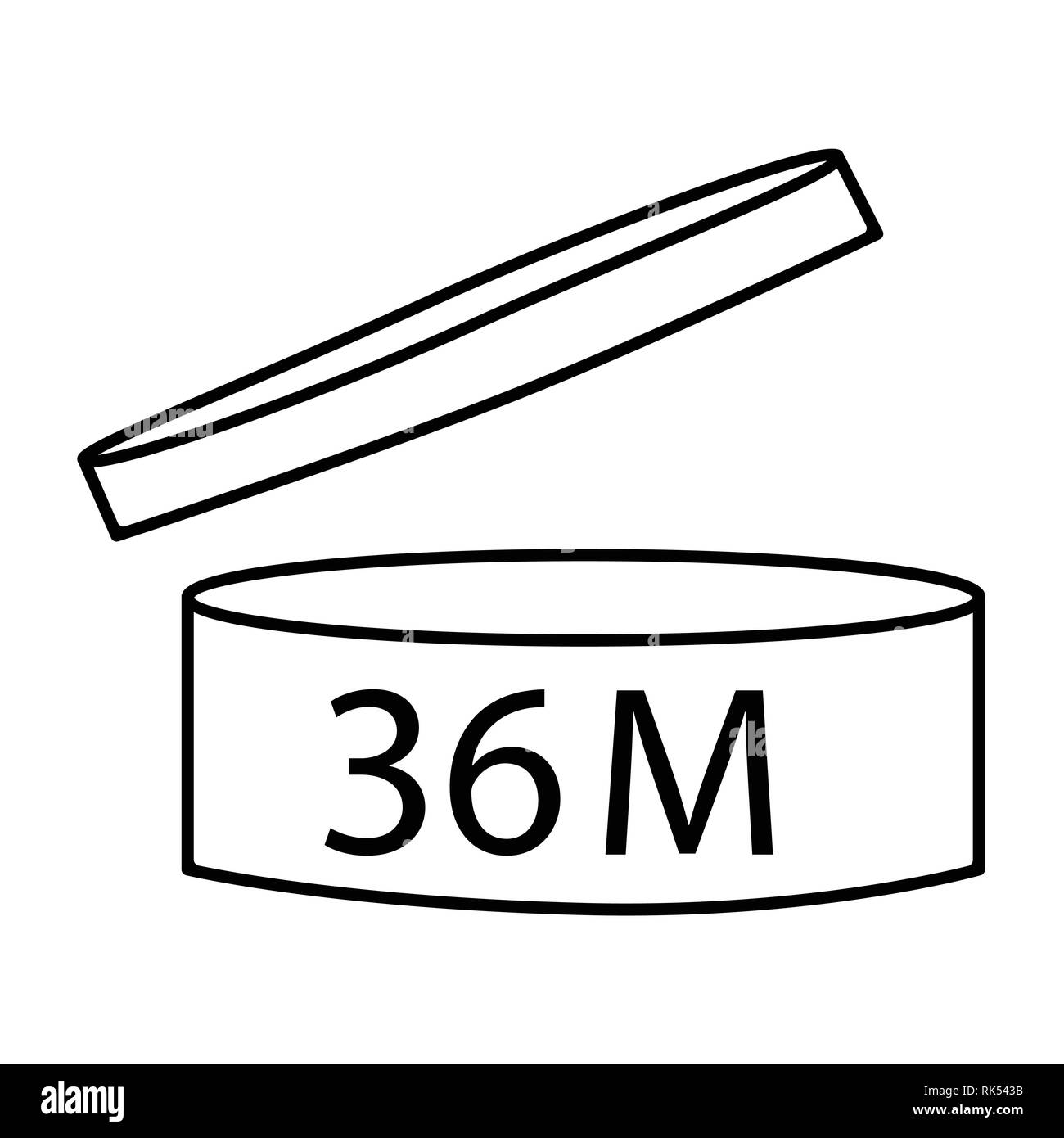Vector illustration cosmetics symbol design. Period of validity after opening icon. Expiration date after product opening symbols. 36M Stock Vector