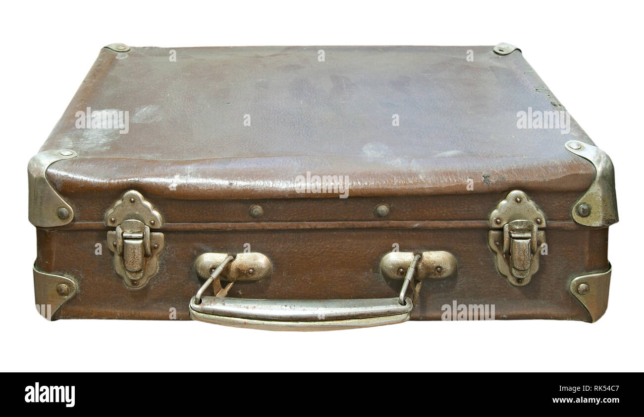 Old dirty and dusty suitcase isolated on a white background. Close up image - Stock Image