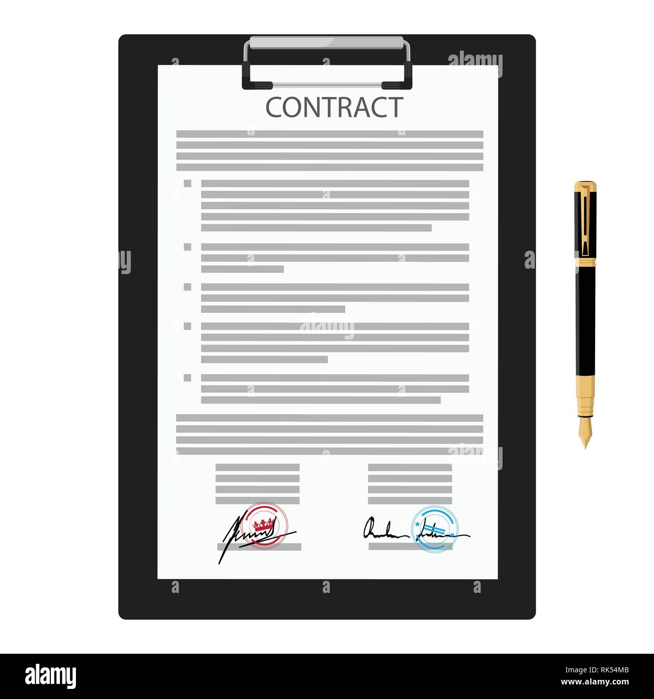 Vector illustration of signed business contract, agreement icon with round stamps on clipboard with golden, red pen. Paper deal Stock Vector