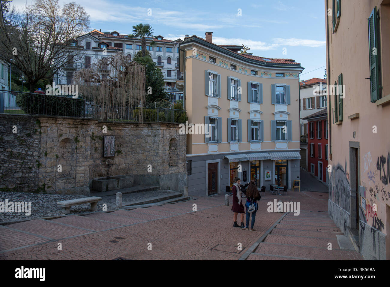 Old houses and shops in the city centre of Lugano Stock Photo