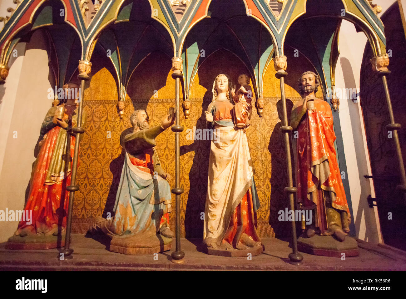 Group of statues with the Three Kings inside the Schleswig Cathedral, Schleswig, Schleswig-Holstein, Germany, Europe - Stock Image