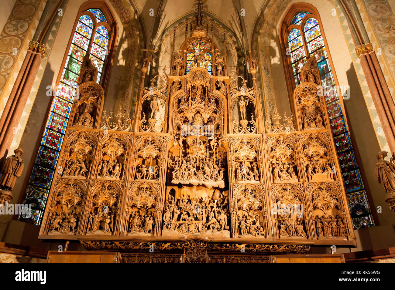 Brueggemann altar or Bordesholmer altar, Schleswig Cathedral, Schleswig, Schleswig-Holstein, Germany, Europe - Stock Image