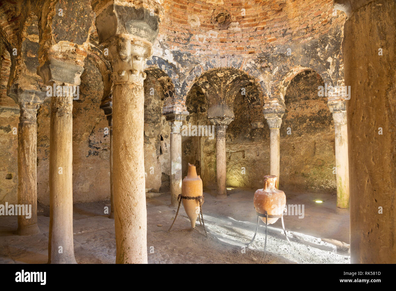 PALMA DE MALLORCA, SPAIN - JANUARY 27, 2019: The little medieval bathhouse - Banos arabes with the typically archs. - Stock Image