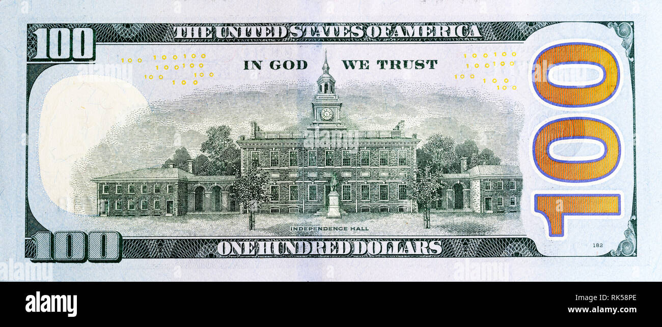 Back of new one hundred dollar bill for your unique project. - Stock Image
