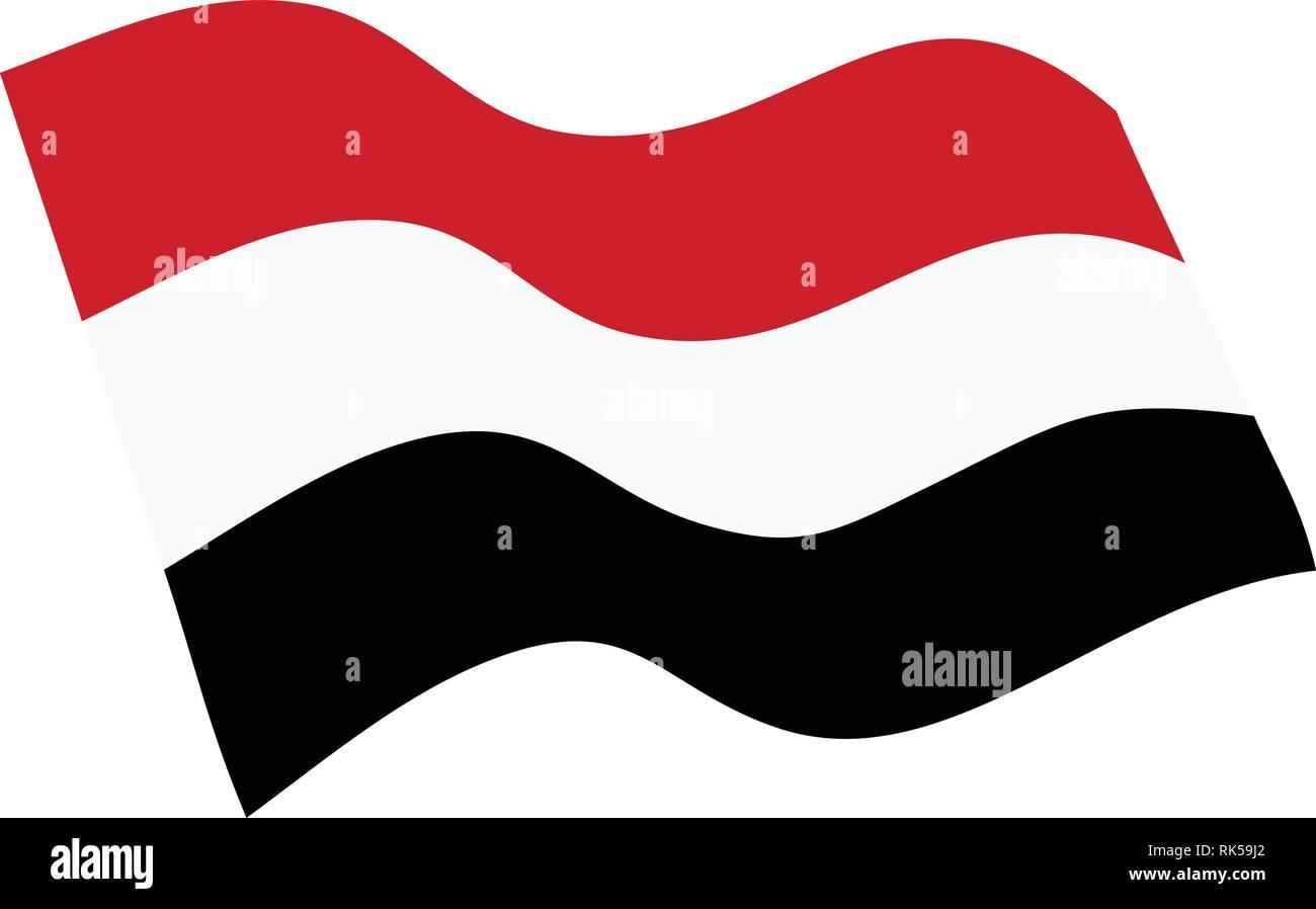 Vector illustration waving flag of Yemen icon. Republic of Yemen flag button isolated on white background - Stock Image
