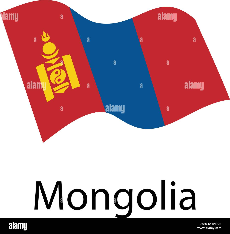 Flag of Mongolia. Waving flag - Stock Vector
