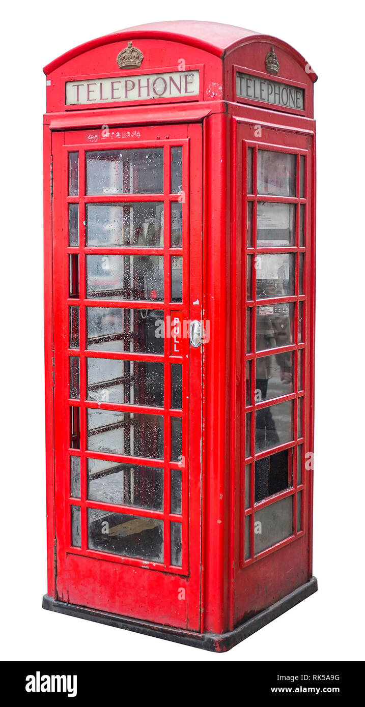 typical red british telephone booth isolated on white background - Stock Image