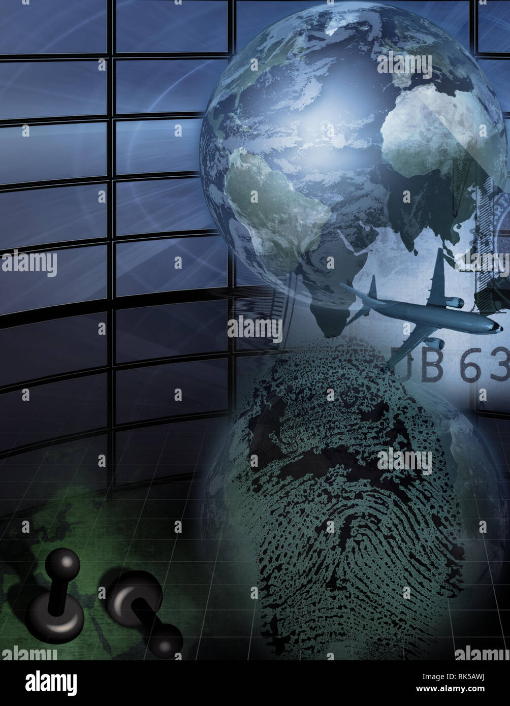 Complex picture. Globe and plane represents traveling. Finger print. Pins on a world map. Stock Photo