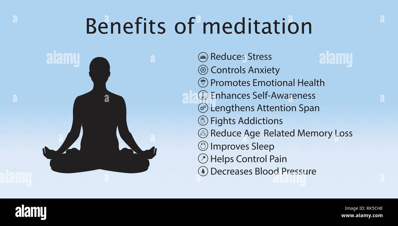 Meditation health benefits for body, mind and emotions, vector infographic  with icons set Stock Vector Image & Art - Alamy