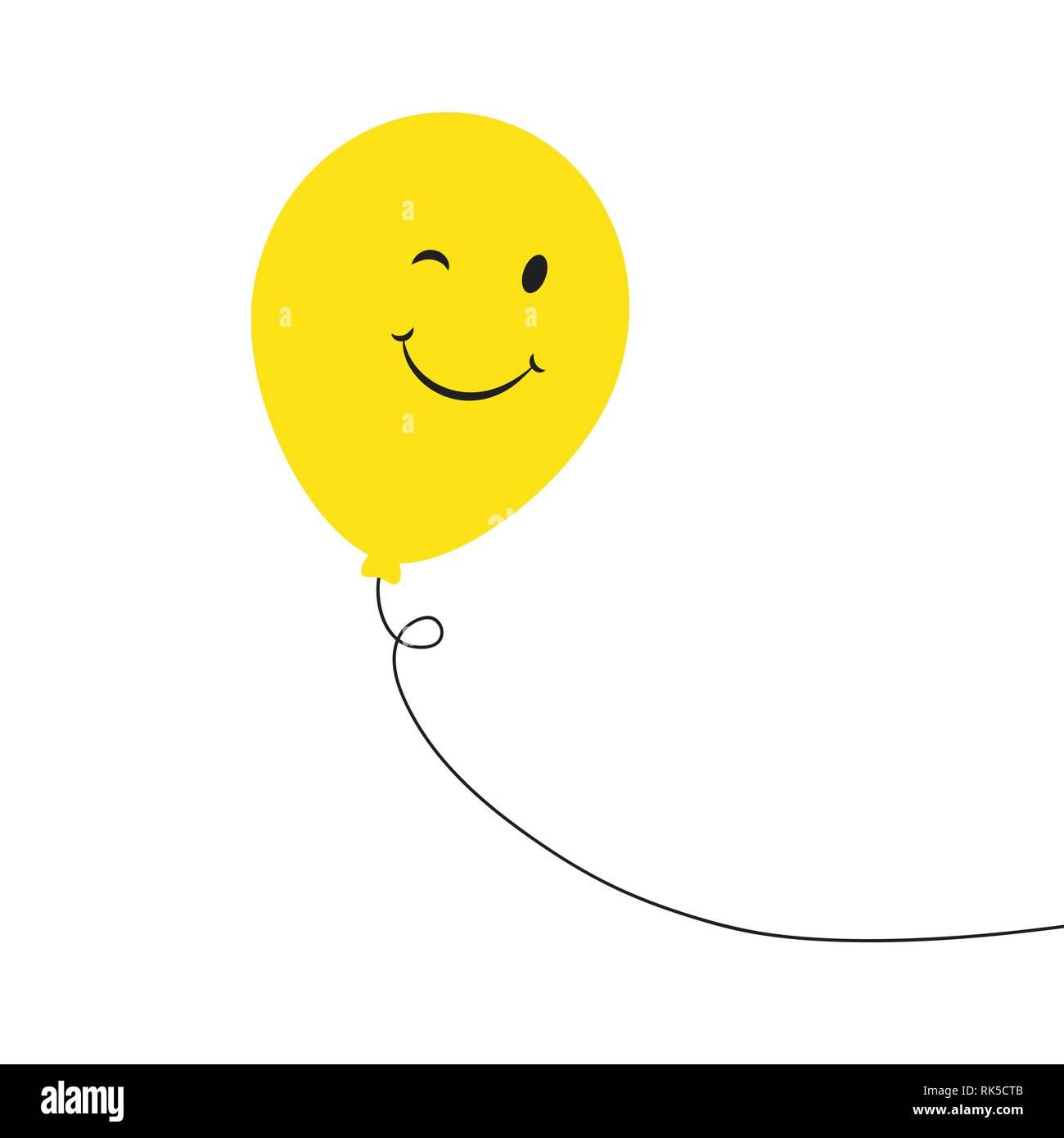 Balloon. Smiley Face. Yellow Smile Balloon. Happy Birthday