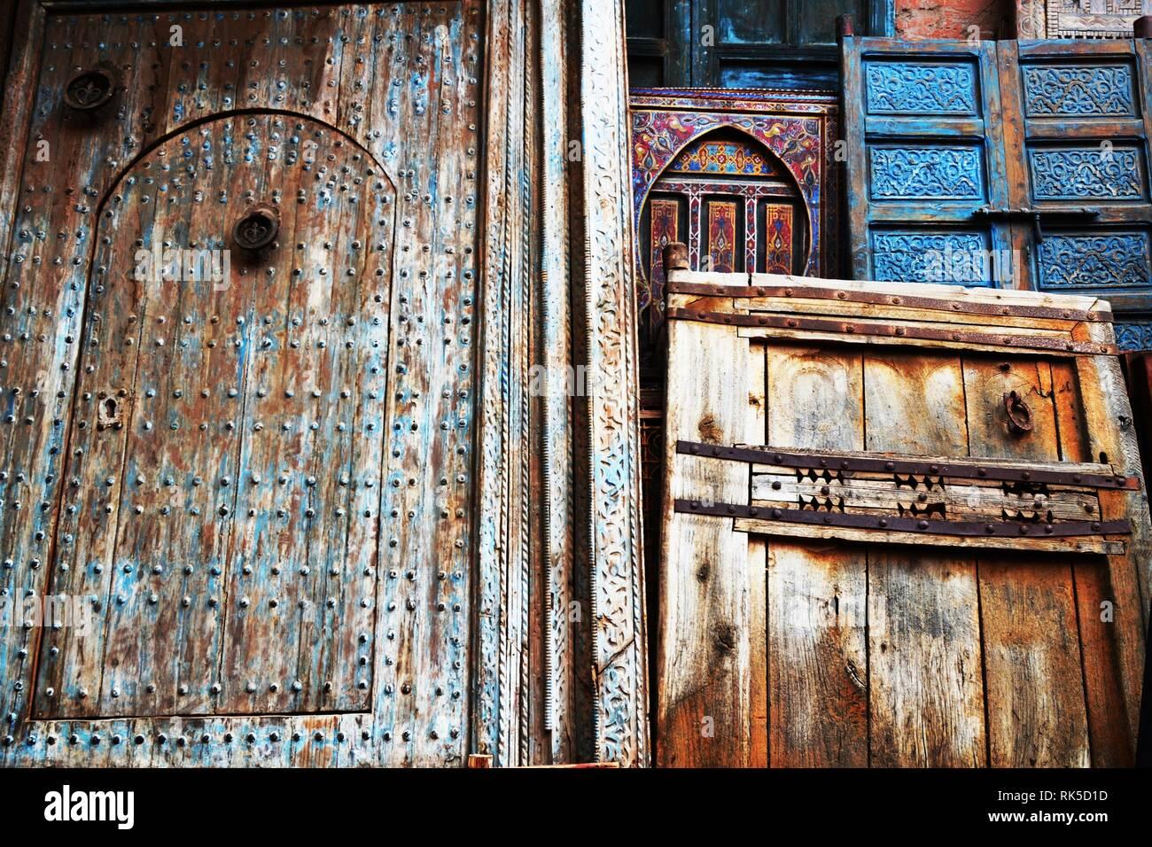 The Splendor Of Old Doors  Beautiful Moroccan old door. Marrakesh, Morocco. Stock Photo