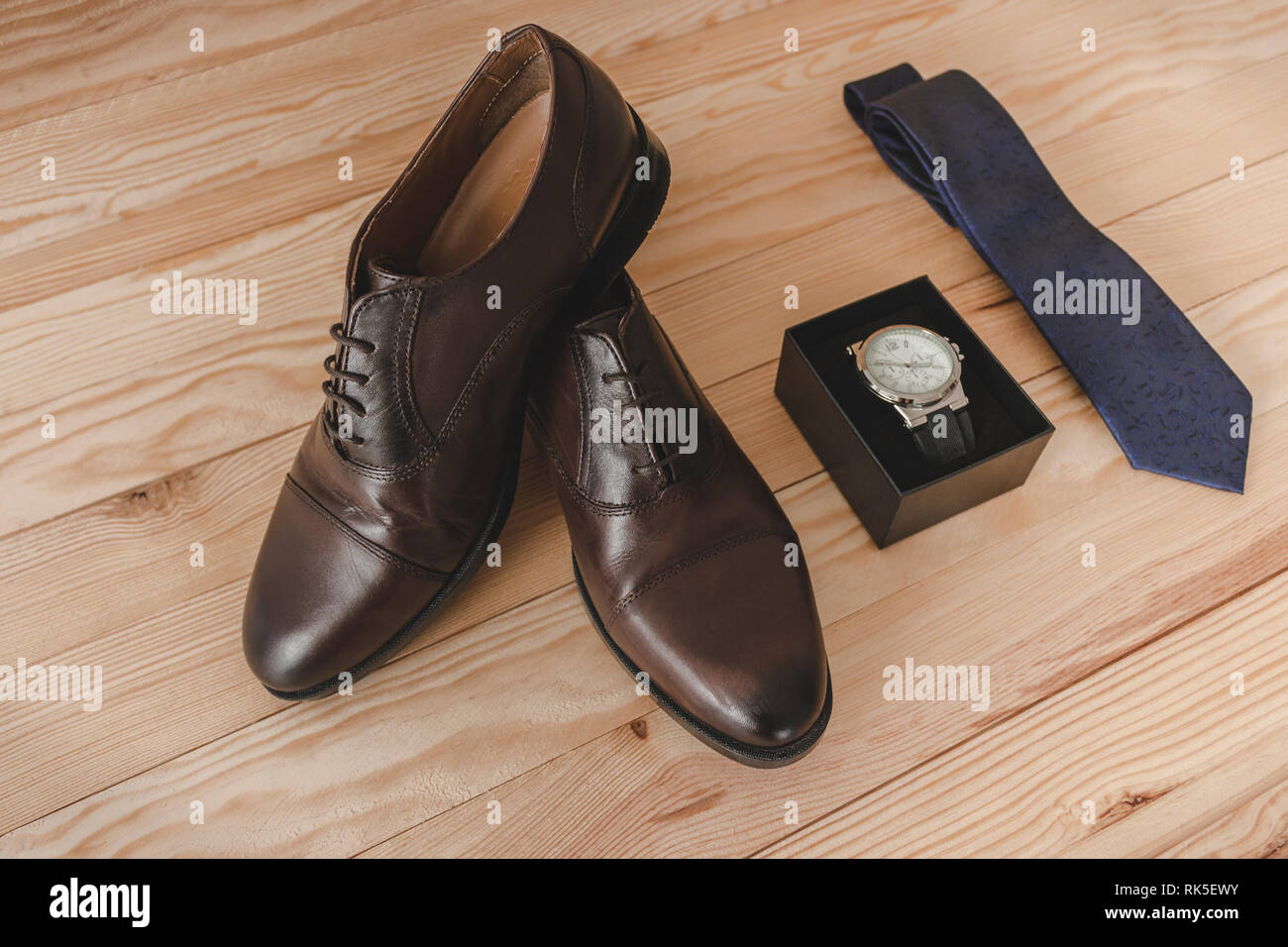 1d297c9e Shoes, tie and watch as accessories to dress elegantly Stock Photo ...