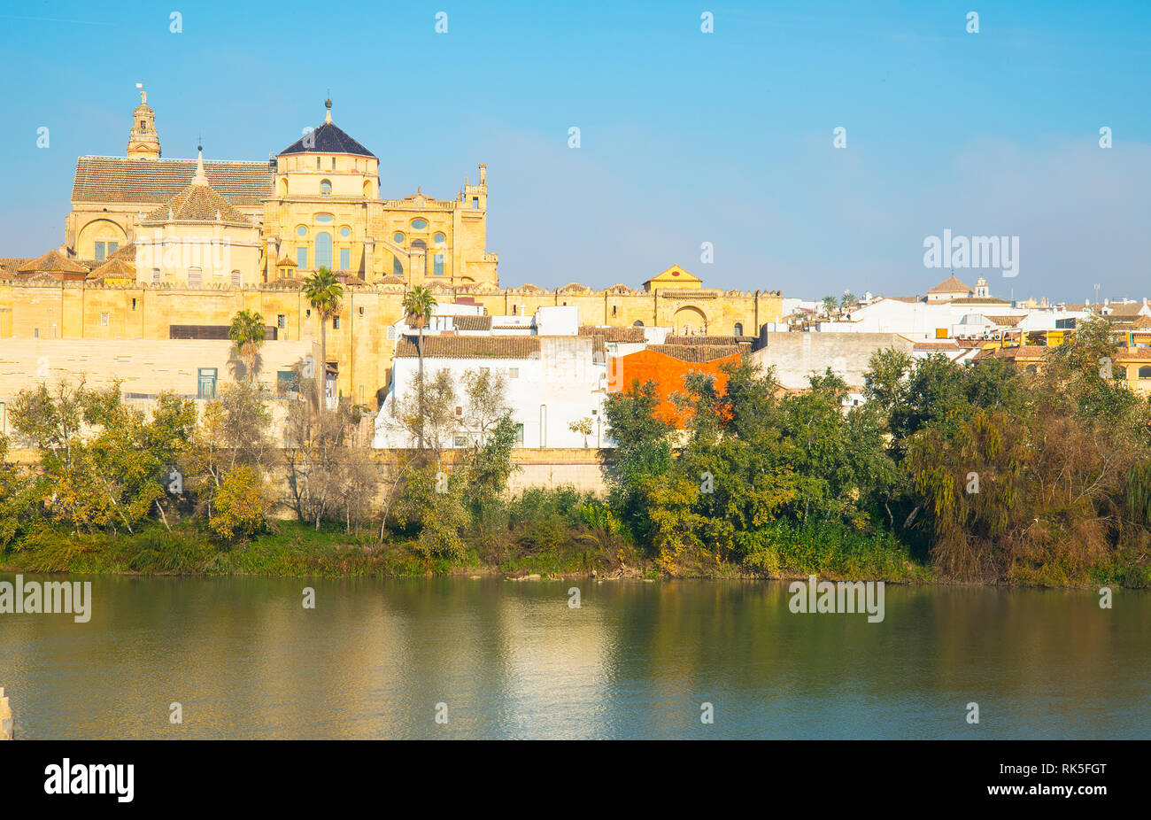 River Guadalquivir and Mosque Cathedral. Cordoba, Spain. Stock Photo