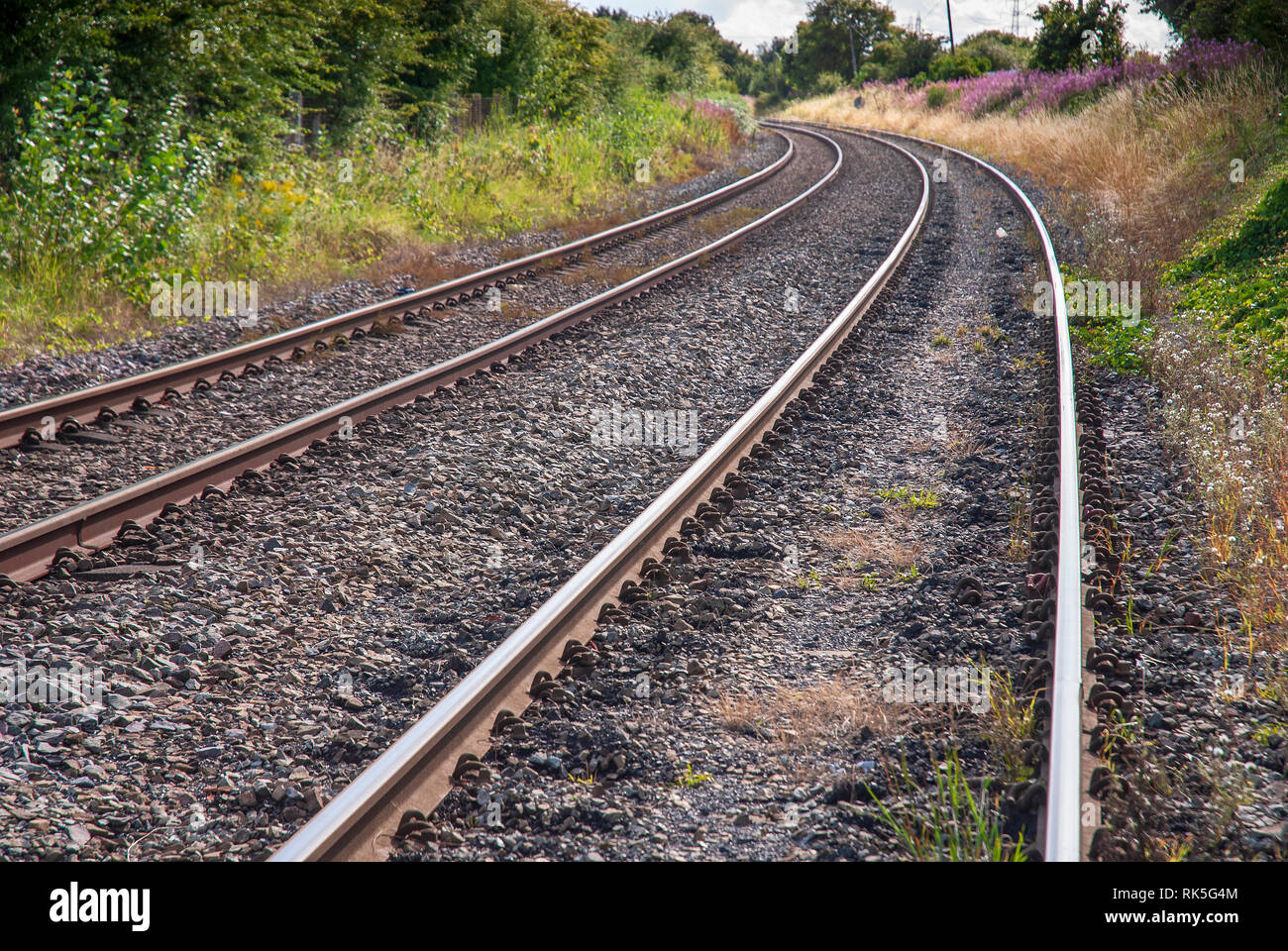 Curved railway lines - Stock Image