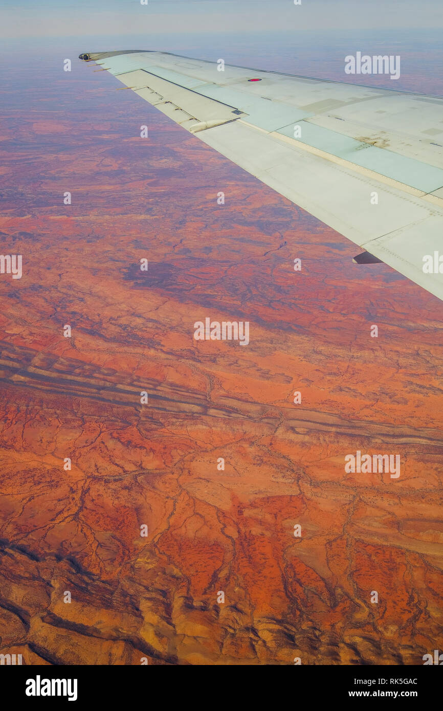 Vertical Image, Looking Down on the Australian Outback from a Qantas Plane, Australia - Stock Image