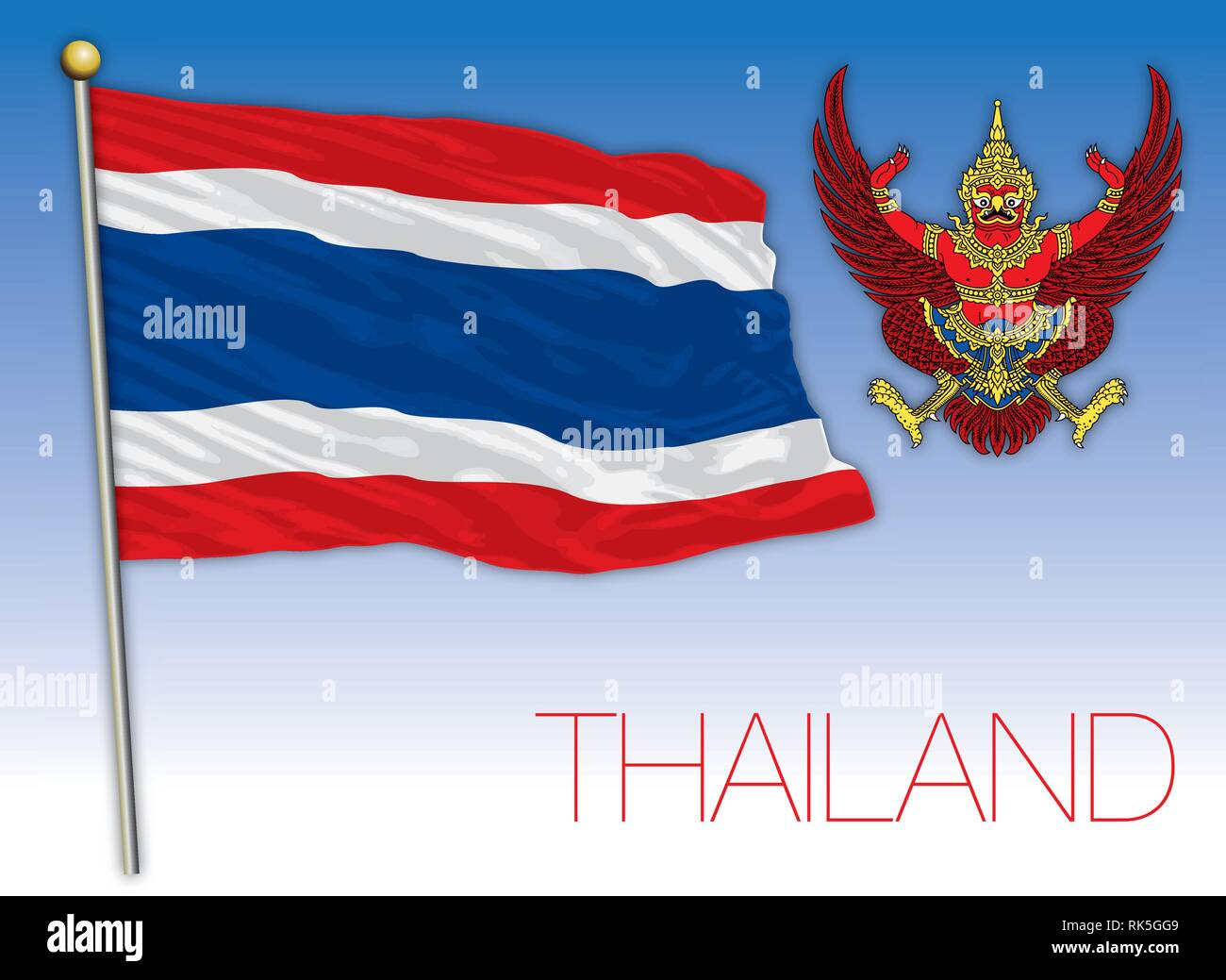 Thailand coat of arms and national flag - Stock Vector
